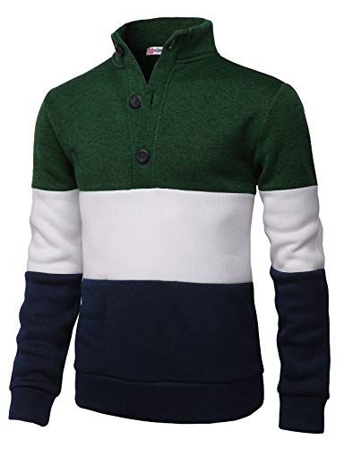 Grey Wool Henley Sweater - H2H Mens Fashion Knitted Slim Fit Pullover Sweaters Color Block High-Neck with Button Point Green US 2XL/Asia 3XL (CMOSWL038)