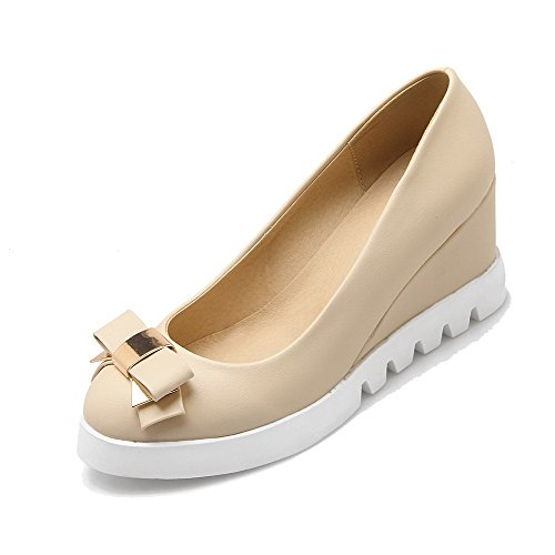 VogueZone009 Women's PU Round-Toe Kitten-Heels Pull-On Solid Pumps-Shoes Beige 07Lo5