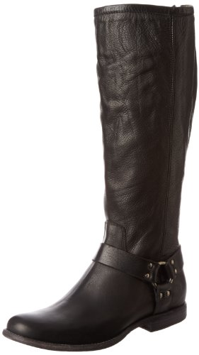 FRYE Women's Phillip Harness Tall Boot: Wide Calf, Black Soft Vintage Leather Wide Calf, 6.5 M US ()