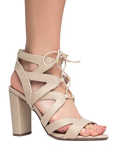 Lace Up Cutout Open Toe High Heel Sandal - Dress Wedding Shoe - Sexy Comfortable Pump - Divine by J Adams
