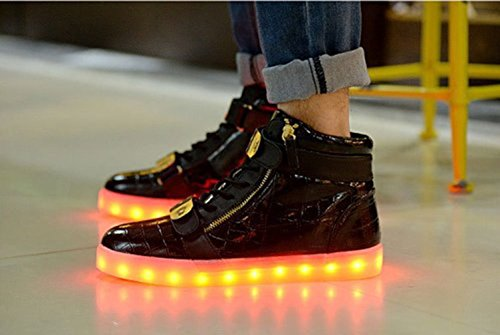 [Present:kleines Handtuch]JUNGLEST 7 Farben LED Leuchtend Aufladen USB Aufladen Sport Schuhe Paare Schuhe Herbst und Winter Sport Schuhe Freizeitschuhe Leucht Laufende Unise Schwarz