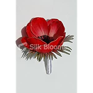 Fresh Touch Anemone Wedding Grooms Red Poppy Buttonhole 95