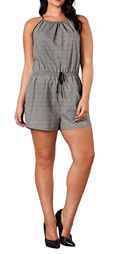 eVogues Plus Size Relaxed Fit Sleeveless Romper Patterned Gray - 1X
