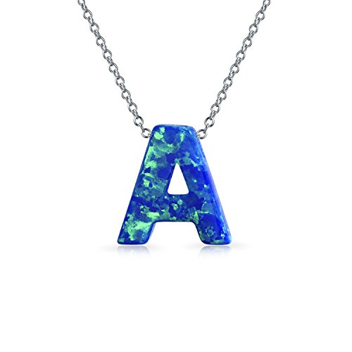 Blue Created Opal Abc Block Letter Alphabet Initial A Pendant Necklace For Women Sterling Silver October Birthstone