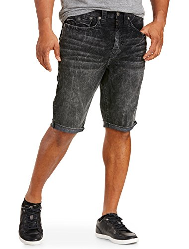 True Religion Ricky Relaxed Straight Corduroy Cut-Off Shorts Washed Black 42 by True Religion