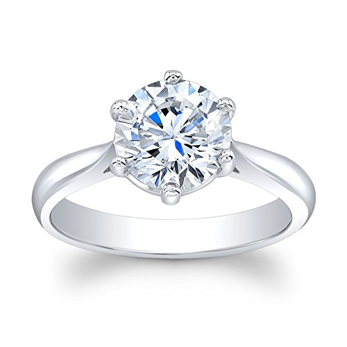 Ladies 14k white gold plain engagement ring solitaire with 2 ct natural Round Brilliant White Sapphire center