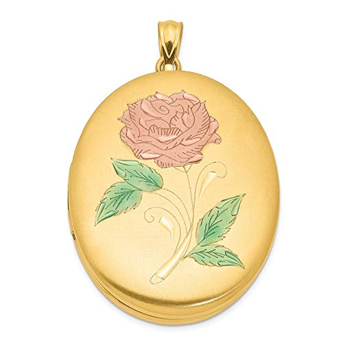 - 1/20 Gold Filled 34mm Enameled Flower Oval Photo Pendant Charm Locket Chain Necklace That Holds Pictures Fashion Jewelry Gifts For Women For Her