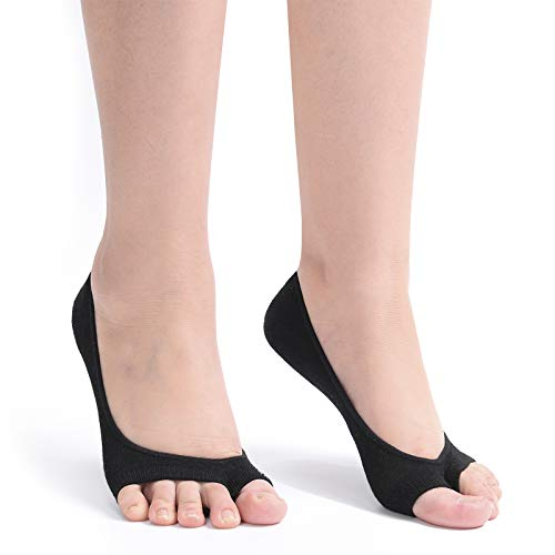 Flammi Women's 3 Pairs Peep Toe Liner Socks No Show with Nonslip Heel Grip (Black) ()
