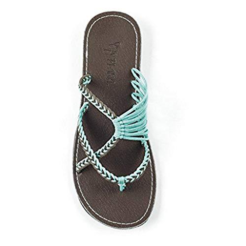 LOVOZO Retro Womens Slippers Hemp Rope Flip Flops Flat Fashion Roman Sandals Beach Shoe Blue, 9 M US
