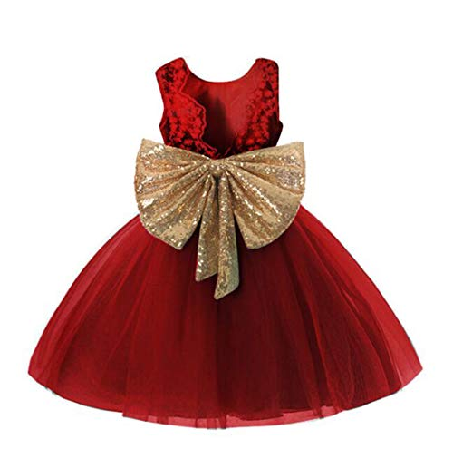 Fall Dresses for Little Girls Size 6 7-9 Wedding Christmas Party Pageant Flower Dress for Kids Christmas Holiday Ball Gowns Sleeveless Knee Length Princess Girl Dress Wine Frocks (Burgundy 140) -