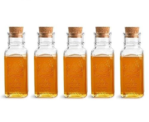 Nakpunar 5 pcs 16 oz Glass Honey Muth Bottles with cork