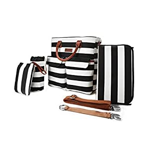5 in 1 Baby Diaper Bag Black and White Stripe Cotton Canvas with Changing Pad, Milk Bottle Bag ,Handbag,2 Stroller Straps,Black&White