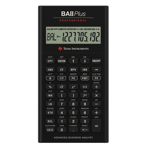 Texas Instruments TI BA II Plus Professional Financial Calculator - 10 Character(s) - LCD - Battery Powered IIBAPRO/CLM/4L1/A 00-7S3F4Q-IT
