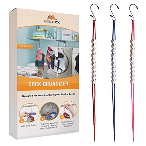 Mobi Lock Ultimate Sock Clamps - Keep Socks Paired in Washer/Dryer -3 Pack Sock Laundry and Storage Hangers - Enjoy 27 Pairs of Clean, Fresh Socks - Use for Hand Towels, Underwear or Scarves
