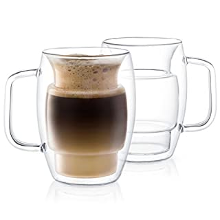 JoyJolt Cadus Glass Coffee Cups Double Wall Insulated Mugs Set of 2 Latte Glasses, 16-Ounces.
