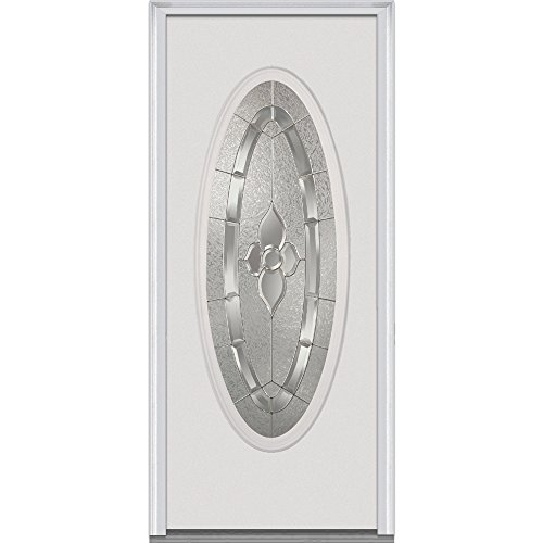 National Door Company Z008642R Steel, Brilliant White, Right Hand In-swing, Exterior Prehung Door, Master Nouveau, Large Oval 30''x80'' by National Door Company