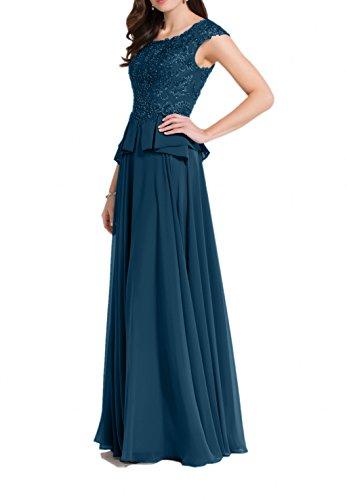 Spitze Tinte Damen Brautmutterkleider Blau A Charmant Lang Linie Partykleider Abendkleider Dunkel Grau Chiffon gtPFxpn