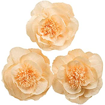 Amazon lings moment giant paper flowers 9 x crepe paper giant paper flower decorations for wall light orange paper flower for wall baby orange crepe paper flower wedding bouquets centerpieces arrangements party mightylinksfo
