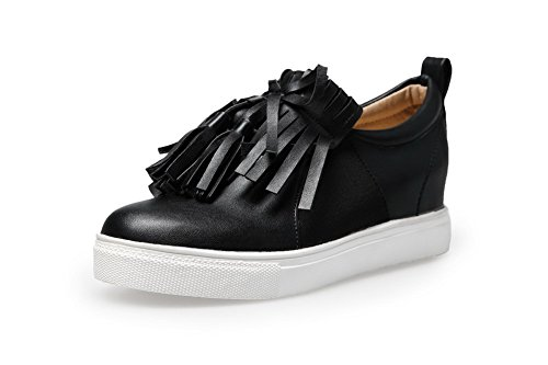 VogueZone009 Women's Low-Heels Soft Material Round Closed Toe Pumps-Shoes with Tassels, Black, 36 by VogueZone009