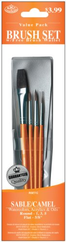 Royal Langnickel Sable Brush Short (Royal & Langnickel Royal Zip N' Close Sable and Camel Round and Flat 4-Piece Brush Set)