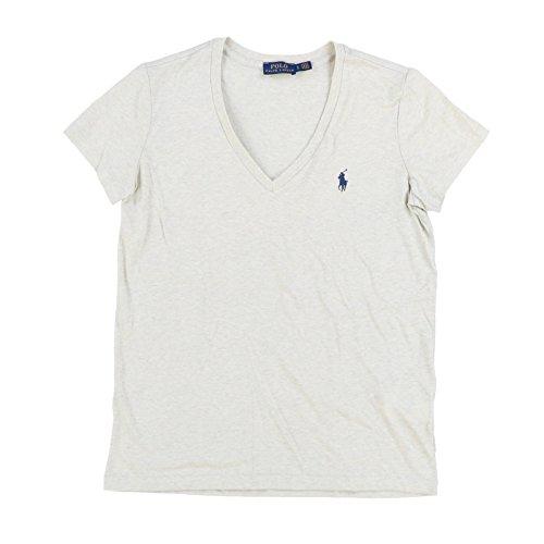 Polo Ralph Lauren Womens V-Neck Jersey T-Shirt (Medium, Light Gray Heather) (Polo Ralph Lauren T Shirts Women)