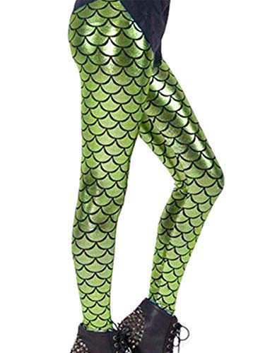 Alaroo Christmas Mermaid Print Scale Leggings Party Costume Light Green M ()
