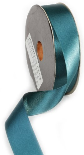 Ampelco Ribbon Company Double Face Satin Ribbon Company, 1-Inch by 27-Yard, Teal