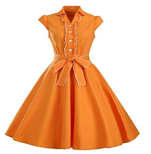 Jaycargogo Couleur Unie De Style Hepburn Femmes Robe D'une Ligne Balançoire Robes Mi-longues Avec Ceinture Orange,