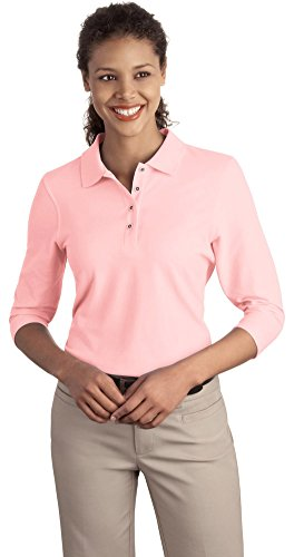 Port Authority Ladies Silk Touch 3 4 Sleeve Polo  Light Pink  Xx Large