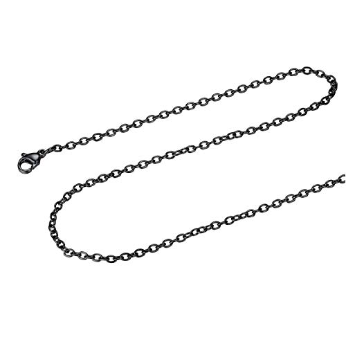 FOCALOOK Stainless Steel Rolo Chain 2MM Solid Black Gun Plated Round Cable Chain Necklace,26""