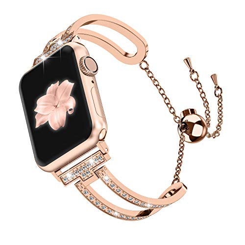 Wearlizer Womens Series 4 3 Gold Compatible with Apple Watch Band 38mm 40mm iWatch Bling Jewelry U-Type Dressy Wristband Steel with Rhinestone Bangle Replacement Strap Metal Bracelet Chain