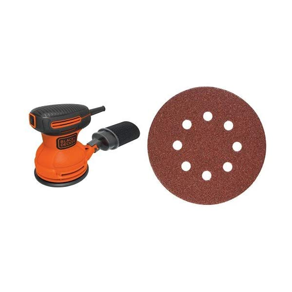 BLACKDECKER-BDERO100-Random-Orbit-Sander-5-Inch-with-PORTER-CABLE-735800625-5-Inch-8-Hole-Hook-and-Loop-60-Grit-Sanding-Discs-25-Pack