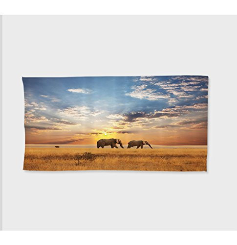 Tow Hook Cut Outs (Sophie 27.5W x 11.8L Inches Custom Cotton Microfiber Ultra Soft Hand Towel Safari Decor Collection Tow Elephants African Distinct Species Sun Rays Untouched Land Fall Scene Picture ith Hooks Blue Ivor)