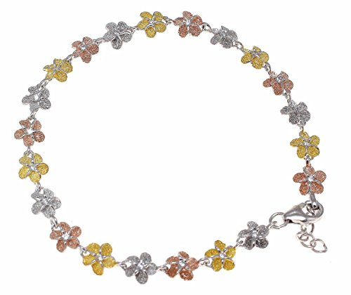 (925 sterling silver tricolor rose yellow gold plated Hawaiian 8mm plumeria flower cz anklet 9 1/2