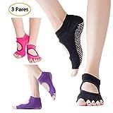 Calcetines Anti deslizantes para Yoga y Pilates, Paquete de 3 - Negro, Morado, y Rosa