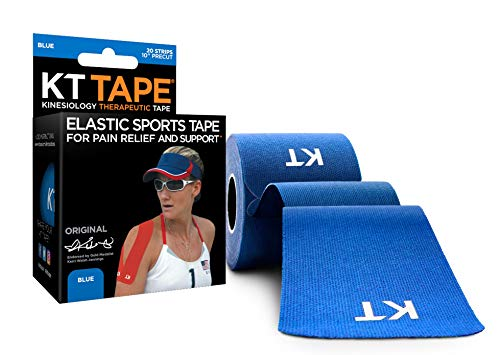 KT Tape Original Cotton Elastic Kinesiology Therapeutic Sports Tape, 20 Pre cut 10 inch Strips, Blue