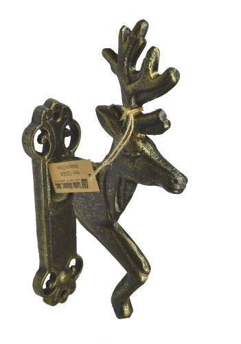 Lulu Decor, Cast Iron Deer Door Knocker (Gold), Perfect for Housewarming Gift. (Gold Door Knocker)