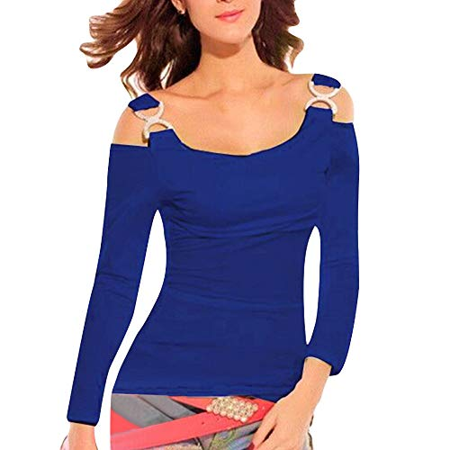 Luckycat Las Mujeres Forman la Blusa Larga sin Tirantes sin Mangas del Camis del O-Cuello de la Manga Larga: Amazon.es: Ropa y accesorios
