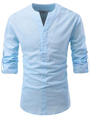 NEARKIN (NKNKN370 Mens No-Button Slit Vanguard Linen Henley Neck Shirts Sky US M(Tag Size M)