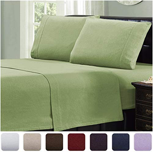 Mellanni 100% Cotton Flannel Sheet Set - Lightweight 4 pc Luxury Bed Sheets - Cozy, Soft, Warm, Breathable Bedding - Deep Pockets - All Around Elastic (Queen, Sage)