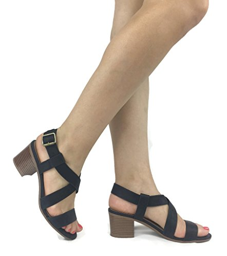 City class Womens Basic Casual Gladiator Block Heel Sandali Neri