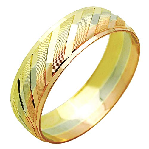 (Double Accent 14K Tri Color Gold 6mm Wedding Engagement Ring DC Stepped Edges Wedding Band (Size 5 to 13), 11.5 )