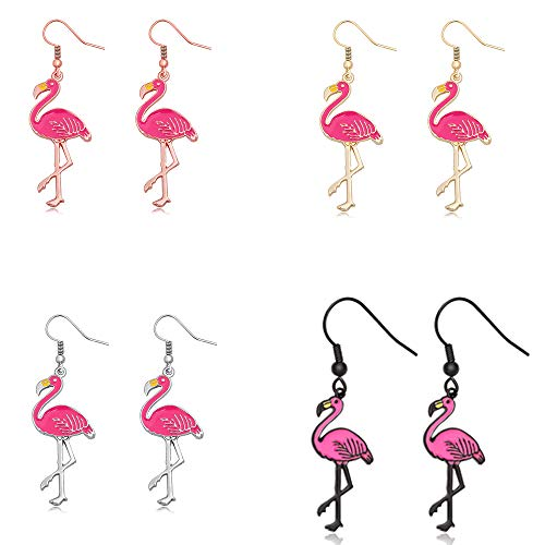 SENFAI Pink Enamel Flamingo Bird Dangle Earrings Black Tone (gold + rose gold + silver + black)