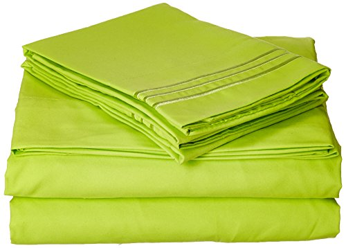 Celine Linen Best, Softest, Coziest Bed Sheets Ever! 1800 Thread Count Egyptian Quality Wrinkle-Resistant 4-Piece Sheet Set with Deep Pockets 100% Hypoallergenic, Queen Lime
