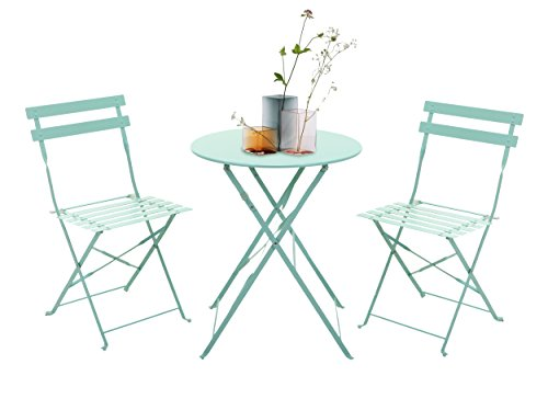 Grand patio 3-Piece Folding Outdoor Bistro Sets, Portable Steel Patio Furniture Sets, Weather-Resistant Garden Table and Chairs, Macaron Blue