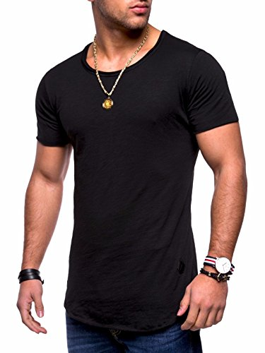 Behype Men's Basic T-Shirt Polo Muscle Tee Casual Tops MT-7103 (S,Black) -
