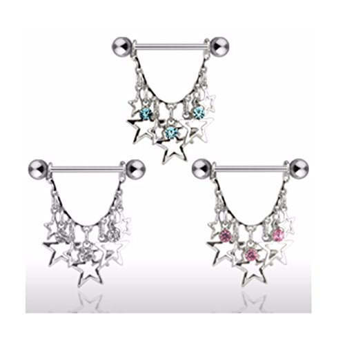 Stars w/ 3 Round CZs Freedom Fashion Nipple Shield (Pink Three Ring Czs)