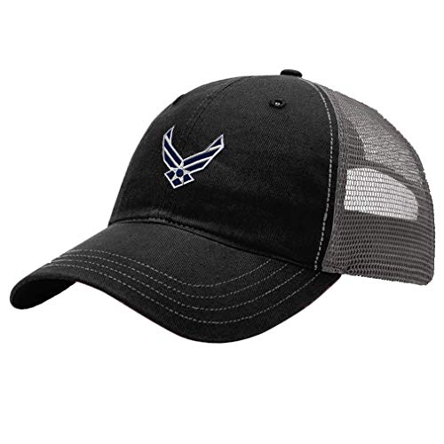 (Trucker Hat Richardson Air Force Emblem Embroidery Veteran Name Cotton Soft Mesh Cap Snaps - Black/Charcoal, Design Only)