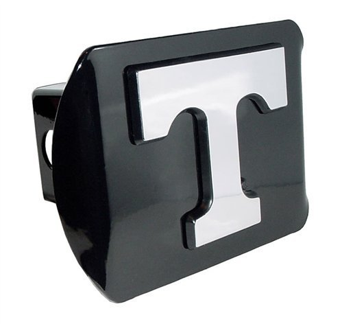 """Tennessee Volunteers Black Metal Trailer Hitch Cover with Chrome Metal Logo (For 2"""" Receivers)"""
