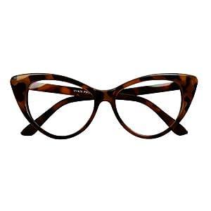 Basik Eyewear - Super Cat Eye Vintage Inspired Fashion Mod Clear Lens Sunglasses (Tortoise Frame, Clear Lens)